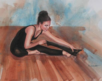 STRETCH -Watercolor-By Ray Lockhart-Fine Art Print-Giclee  Print-Velvet fine Art paper