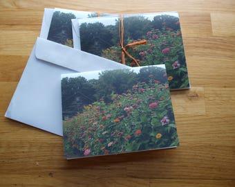 Zinnias and barn - Photo Notecard - Free Shipping