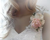 Blush Peony Sola Flower & Ivory Satin Corsage. Can be worn as a Pin On or Wrist Corsage.