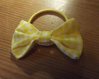 Small Yellow and White Gingham Hair Bow Accessory Hair Elastic Tie Ponytail Holder