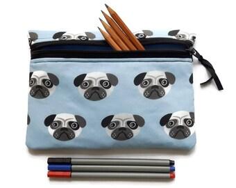 Pug dog pencil case, zipped pouch, cosmetics, crochet case