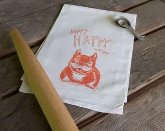 Happy happy dog Screen Printed Tea Towel, flour sack towel