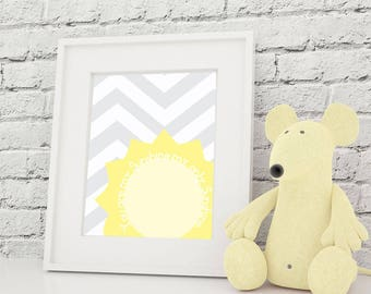 Nursery Art Print You Are My Sunshine 8x10