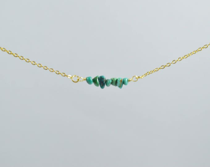 Turquoise Chip Bead Bar Necklace