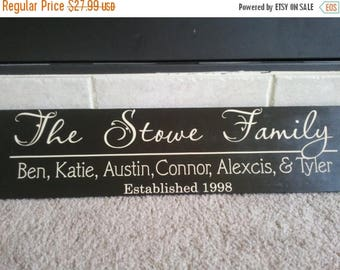 ON SALE Beautiful 6x24 wooden board sign with Personalized family last name, family names, and est date...
