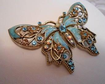 """Vintage brooch, """"Avon """" brooch,  Butterfly brooch,Enamel brooch,rhinestone brooch"""