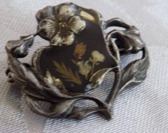 Antique brooch, 1800's Victorian silver floral brooch with enamel, tube hinge, antique jewelry