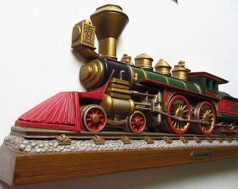 "Train Wall Hanging, Vintage 1978 Homco Burwood 24"" Plaque, The Philadelphia 1871 Locomotive with Coal Car"