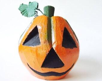 Carved Coconut Pumpkin Folk Art, Vintage Halloween Jack O Lantern
