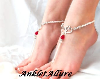 Barefoot Sandals Heart Anklets Beach Sandals GUARANTEED Anklets for Women Beach Wedding Foot Jewelry