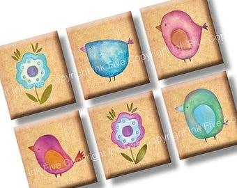 Watercolor Birds scrabble tile size images 0.75x0.83 inch squares. Collage Sheet for scrabble pendants. 4x6 inch sheet Digital download.