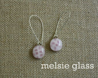 Pink Gingham dangly glass earrings - pink glass earrings, small earrings