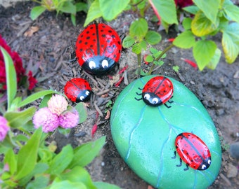 Handpainted Rock LADYBUGS on a Rock Leaf Pop Art