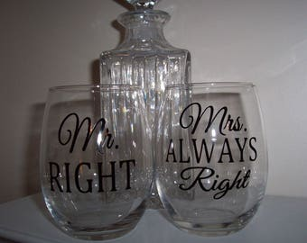 Bride Groom Wine Glasses, Mr. & Mrs. Wine Glasses, Fun Couples Wine Glasses, Mr. Right Mrs.Always Right Glasses Set of 2 Gift Wrapped