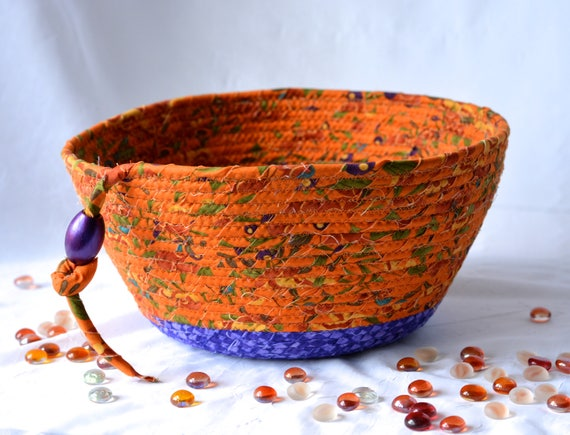 Tan Artisan Basket, Sale..Handmade Textile Art Basket, Tan and Purple Fabric Bowl, Terra Cotta Decoration, Decorative Gift Basket