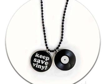 Keep Save Vinyl Music Vinyl Record - Necklace