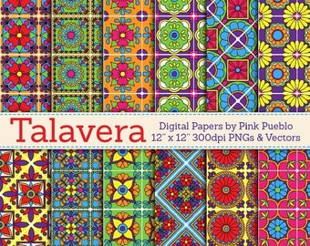 BACK TO SCHOOL Sale Digital Paper, Digital Scrapbook Paper Pack - Talavera Patterns - Commercial and Personal Use