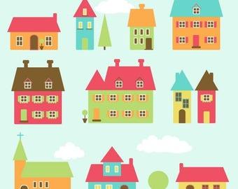 BACK TO SCHOOL Sale Village Clip Art Clipart Town Clip Art Clipart Houses Clip Art Clipart - Commercial Use