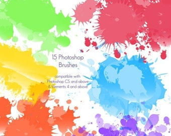 BACK TO SCHOOL Sale Paint Splatters Photoshop Brushes - Commercial License Included