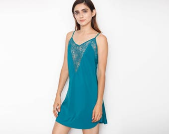 Vintage Deep V Teal Slip Dress