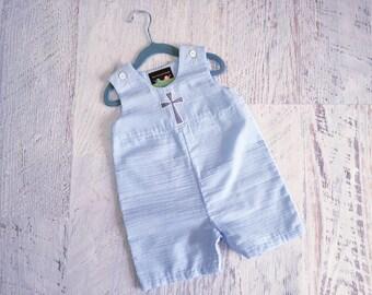 READY TO SHIP Size 18 Months Baby Boy's Light Blue and White Seersucker Baptism Jon Jon Romper with Grey Cross
