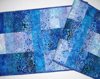 Batik Table Runner in  Aqua, Blue, Violet Batiks handmade, quilted, pieced