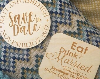 Save the Date Magnets, Wooden Save the Dates, Wedding Announcement