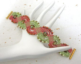 Micromacrame bracelet beaded bracelet green and tan bracelet