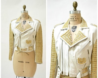 SALE Vintage White Leather Biker Jacket with Rhinestones Gold Studs Size Medium// Metallic Studded White Leather Moto Jacket by Xpose A18