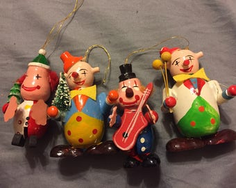 Hand painted Vintage Clown Christmas Ornaments- Set Of 4