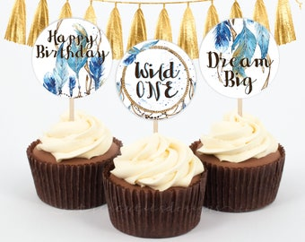 Wild One Cupcake Toppers - 2 inches - BOY - Printable - Instant Download