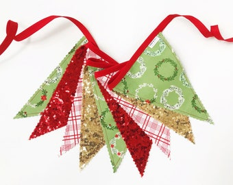 40% off Sale! - Wreath Christmas Pennant Banner, Bunting, Garland