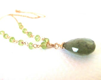 Mossy Aquamarine, Peridot Gemstone Handmade Wire Wrapped Necklace with 14k Gold Fill