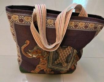 Beautiful Elephant Handbag, Extra Large Canvas Tote Bag, Shoulder Bag, Beach Bag, Diaper Bag