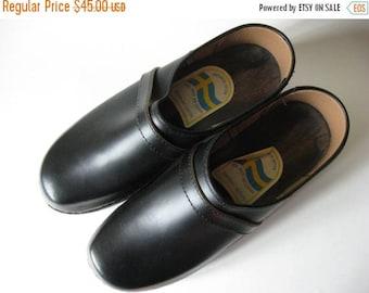 Summer Sale Like new black leather vintage clogs Swedish EU 46 shoes men's Anotomisk Botten