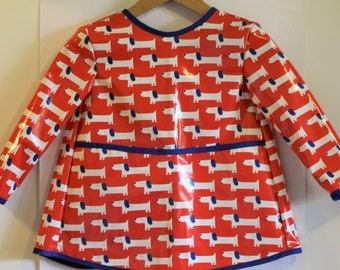 Extra Long Long Sleeved Art Smock Painting Shirt in Red with Dogs