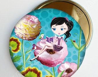 "Petit miroir de poche ""La conteuse"", accessoire de sac, cadeau fille, fleuri"