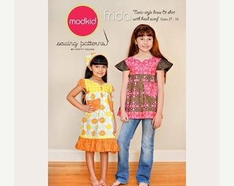 SALE 10% Off - Modkid Sewing Pattern - FRIDA - Sizes 2T-10 - Tunic-style Dress and Shirt - Peasant Dress