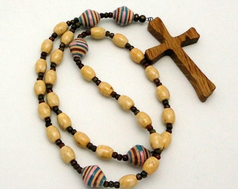 PIF: Protestant / Anglican Prayer Beads in Light Brown Riverstone with Artisan White Oak Cross