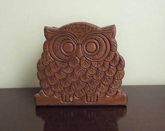 Owl Napkin Holder, Wooden Owl, Wood Owl Napkin Holder, Vintage Kitchen Owl, 1970s Napkin Holder, Bird Kitchen Decor, Owl Collectible