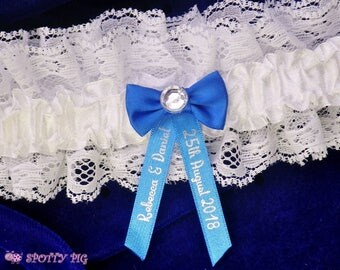 Personalised Royal Blue and Ivory White Wedding Garter Bride Handmade Lingerie Crystal Gift Bridal