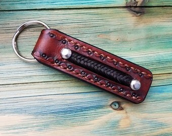 Horsehair Keychain In Leather Key Fob with Inlay Horse Hair - Leather Key Chain