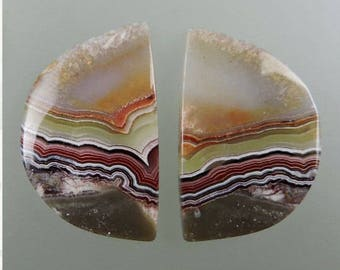 Crazy Lace Agate Cabochon Pair, Crazy Lace Cabs, Fortified Lace Agate, Banded Lace Agate,  Gift Cabochon, C1488, Handcrafted by 49erMinerals