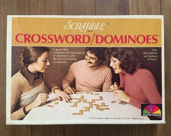 1976 Scrabble Crossword Dominoes Game / tabletop game / family game / board game/ game night / Selchow Righter