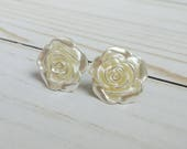 Bridal Plugs, Shimmery Ivory Cream Flowers, for Gauged or pierced Ears Sizes 00g, 0G, 2G, 4G, 6G, Regular earrings, Wedding Jewelry