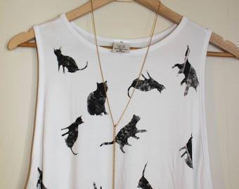 Printed White dress // cats print