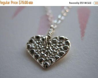 SALE Small Mosaic Heart Sterling Silver Necklace