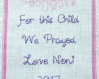 Baby Quilt Label - Pink Clothesline, Custom Made & Hand Embroidered LAST ONE