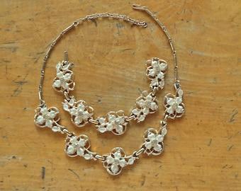 Retro Vintage Creamy Enamel Dogwood Crystal Rhinestone Necklace Bracelet Set Unsigned CORO LISNER