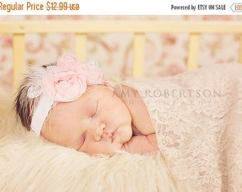 10% SALE Newborn Headbands Baby Headband adult headband lace bow headband christening headband photo prop teen headband headband baby Baby b